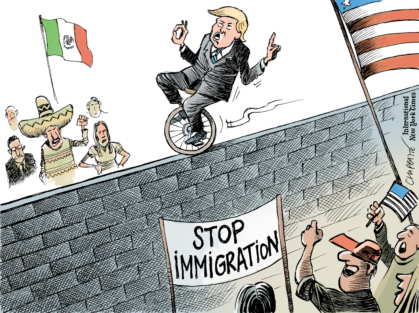 trump�s immigration policy chappatte cartoons