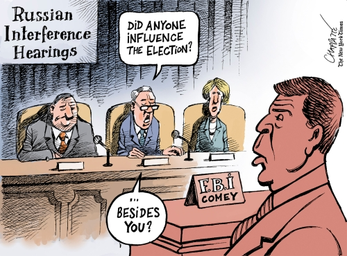 Image result for cartoon about russian interference in us elections comey